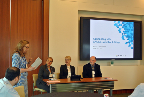 ANCILE's Karen Jones moderates Q&A session with customer panelists in Houston.